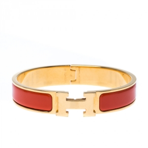 Hermes Clic H Orange Mandarine Enamel Gold Plated Narrow Bracelet PM