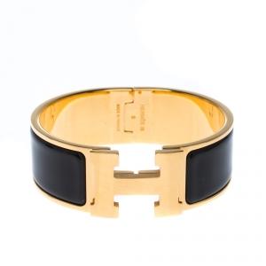 Hermes Clic Clac H Black Enamel Palladium Plated Wide Bracelet PM