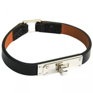 Hermes Kelly Black Swift Leather Palladium Bracelet