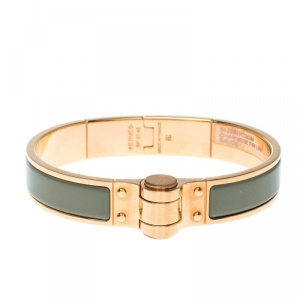 Hermes Charniere Uni Green Enamel Rose Gold Plated Bracelet GM