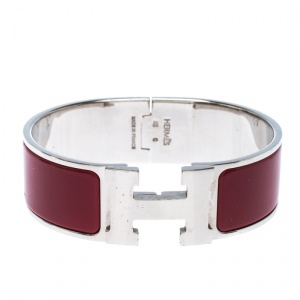 Hermes Clic Clac H Red Enamel Palladium Plated Wide Bracelet GM