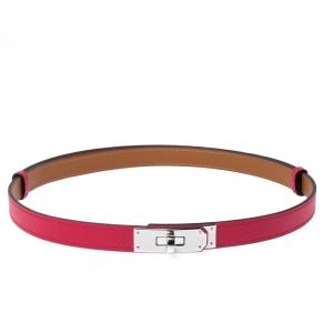حزام هيرمس كيلي جلد ابسوم وردي