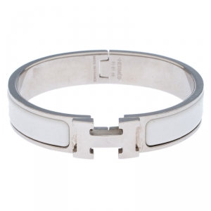 Hermes Clic Clac H White Enamel Palladium Plated Narrow Bracelet PM