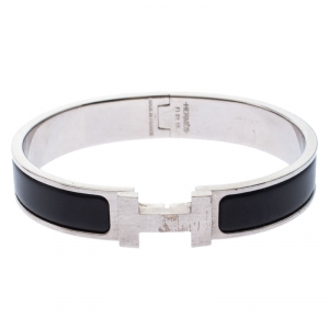 Hermes Clic H Black Enamel Palladium Plated Narrow Bracelet GM