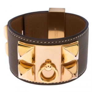 Hermès Collier de Chien Calfskin Olive Green Leather Gold Plated Bracelet