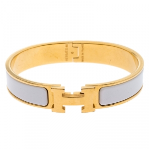 Hermes White Enamel Gold Plated Clic Clac H Bracelet PM