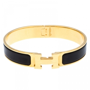 Hermès Clic H Black Enamel Gold Plated Narrow Bracelet PM