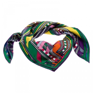 Hermes Multicolor Printed Brides Et Gris Gris Silk Scarf