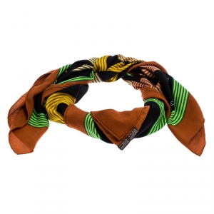 Hermes Multicolor Printed Silk and Cashmere Circuit 24 Fabourg Shawl