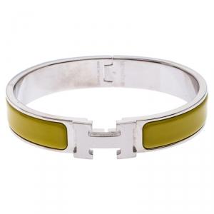Hermes Clic Clac H Yellow Enamel Palladium Plated Narrow Bracelet PM