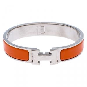 Hermes Clic H Orange Enamel Palladium Plated Bracelet PM