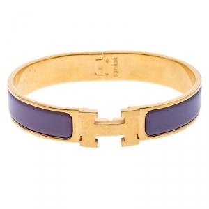 Hermes Clic H Purple Rose Cendré Enamel Gold Plated Bracelet GM