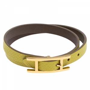 Hermes Lime Green and Grey Leather Behapi Reversible Double Tour Bracelet M