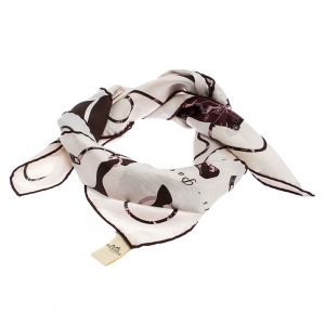 Hermes Pink & Brown Kelly En Caleche Printed Silk Scarf