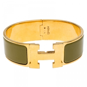 Hermes Clic Clac H Green Enamel Gold Plated Wide Bracelet GM