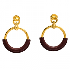 Hermès Gold Plated Barenia Leather Loop Earrings