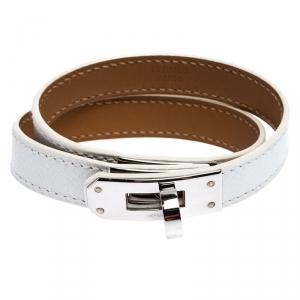 Hermes Kelly Double Tour White Leather Palladium Plated Wrap Bracelet M