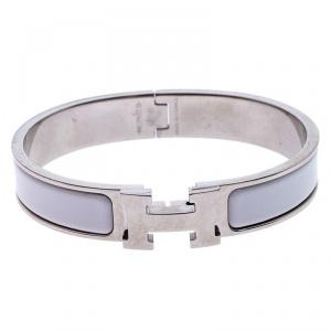 Hermès Clic H White Enamel Palladium Plated Narrow Bracelet GM