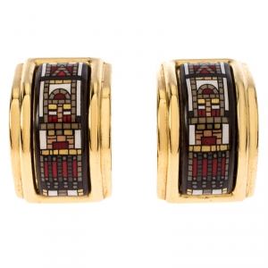 Hermes Printed Enamel Inlay Gold Plated Clip-on Earrings