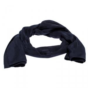 Hermes Navy Blue Faconnee Grand H Silk Scarf