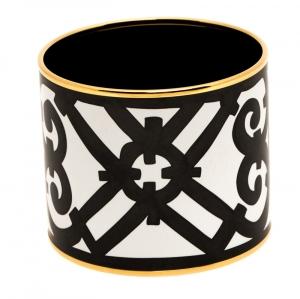 Hermes Monochrome Printed Enamel Gold Plated Extra Wide Bangle Bracelet