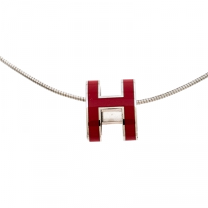 Hermes Pop H Red Lacquer Palladium Plated Pendant