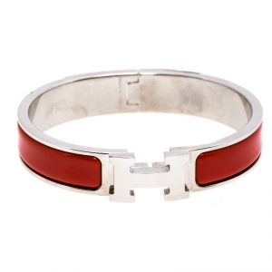 Hermès Clic H Red Enamel Palladium Plated Narrow Bracelet PM