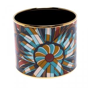 Hermes Multicolor Printed Enamel Gold Plated Extra Wide Bangle Bracelet