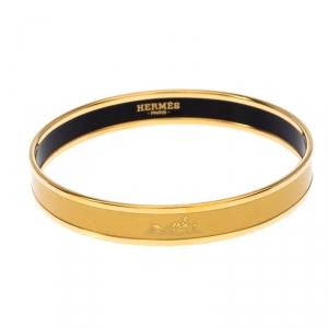 Hermes Caleche Yellow Enamel Gold Plated Narrow Bangle Bracelet