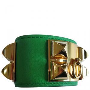 Hermès Collier de Chien Calfskin Green Leather Gold Plated Bracelet