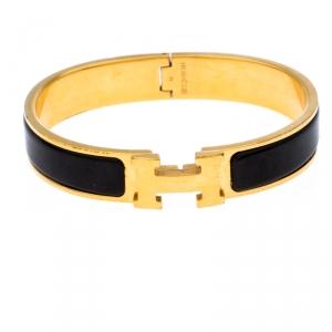 Hermès Clic H Black Enamel Gold Plated Narrow Bracelet GM