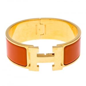 Hermes Clic Clac H Orange Enamel Gold Plated Wide Bracelet PM
