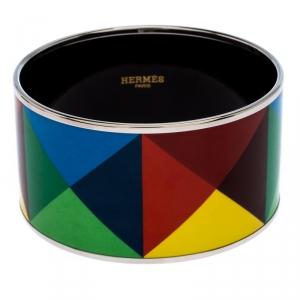 Hermes Clous De Trompe L'Oeil Multicolor Enamel Extra Wide Bangle Bracelet