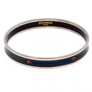 Hermes Multicolor Printed Enamel Palladium Plated Narrow Bangle Bracelet