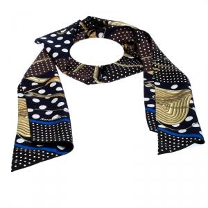 Hermès Marine Blue & Noir Clic Clac a Pois Silk Maxi Twilly Scarf