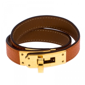 Hermes Kelly Double Tour Orange Leather Gold Plated Wrap Bracelet S