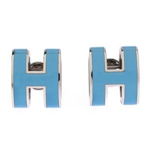 Hermes Pop H Blue Lacquered Palladium Plated Stud Earrings