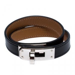 Hermes Kelly Double Tour Black Leather Palladium Plated Wrap Bracelet M