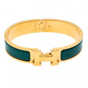 Hermès Clic H Malachite Green Enamel Gold Plated Narrow Bracelet PM