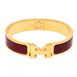 Hermès Clic H Rouge Red Enamel Gold Plated Narrow Bracelet PM