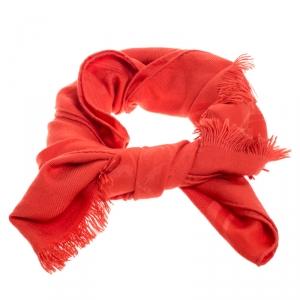 Hermes Orange Silk Cashmere Blend Fringed Scarf