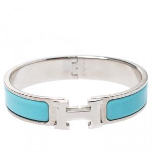 Hermès Clic H Teal Blue Enamel Palladium Plated Narrow Bracelet PM
