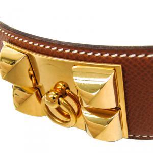 Hermes Brown Leather Collier de Chien Medor Belt 80