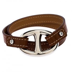 Hermès Brown Leather Granville Double Tour Bracelet M