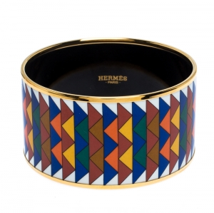 Hermès Multicolor Enamel Rayures Mosaïque Wide Bangle Bracelet