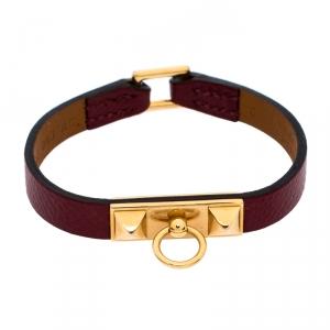 Hermès Rouge Grenat Leather Micro Rivale Bracelet S