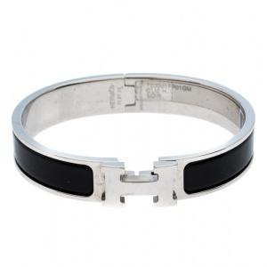 Hermès Clic H Noir Enamel Palladium Plated Narrow Bracelet GM