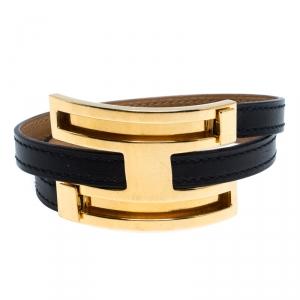 Hermès Black Leather Pousse Pousse Gold Plated Bracelet