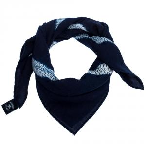 Hermès Indigo Cashmere Silk Ex Libris Scarf