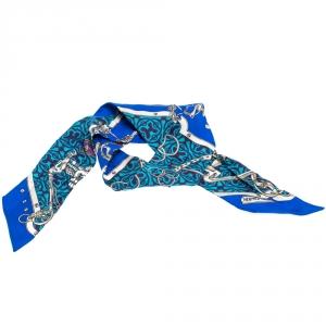 Hermès Blue Equestrian Print Silk Twilly Scarf